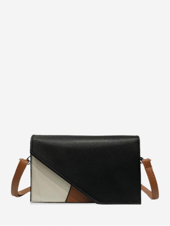 chic PU Contrast Color Square Crossbody Bag - BLACK