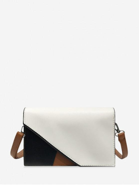 buy PU Contrast Color Square Crossbody Bag - MILK WHITE