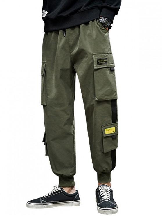 ladies Letter Appliques Cargo Pants - ARMY GREEN L