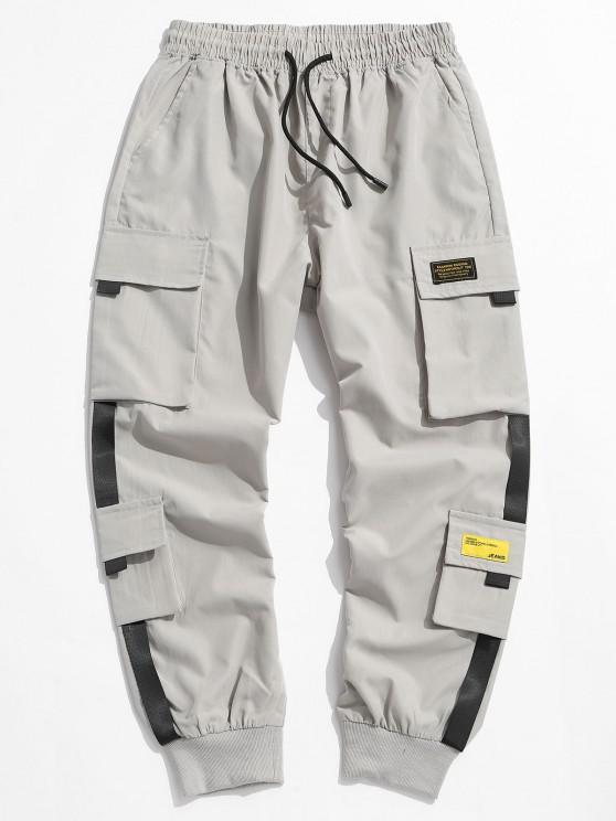 Pantalones de Carga con Apliques de Letras - Gris Claro XS