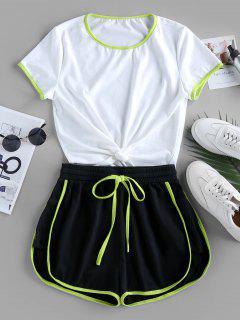 ZAFUL Contrast Stripe Knotted Gym Set - White L