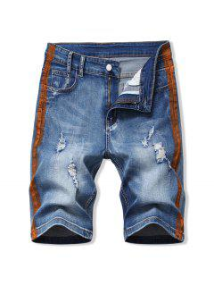 Contrast Paint Ripped Denim Shorts - Brown 40