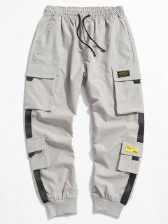 Letter Appliques Cargo Pants - Light Gray L