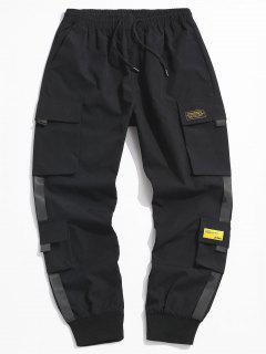 Letter Appliques Cargo Pants - Black Xs