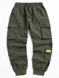 Letter Appliques Cargo Pants - Army Green L