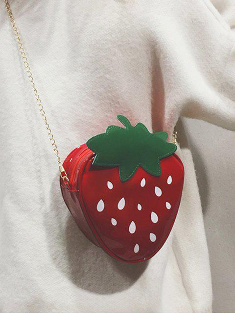 fancy Chain PU Strawberry Crossbody Bag - CHERRY RED  Mobile