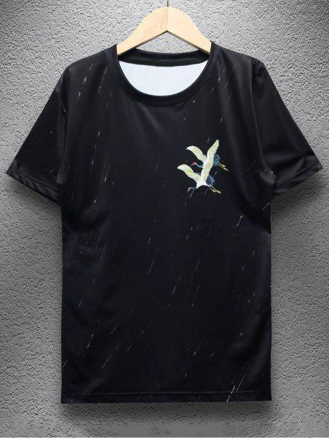 Kurzarm Buchstabe Kran Drucken T-Shirt - Schwarz XS Mobile