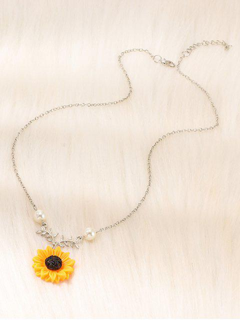 shops Sunflower Pendant Faux Pearl Necklace - SILVER  Mobile
