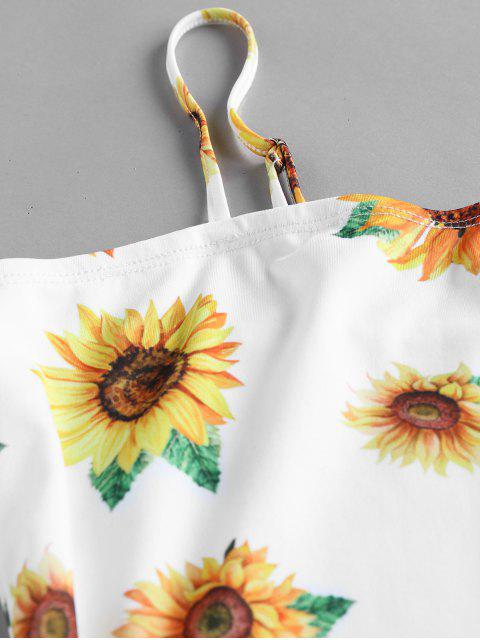 lady ZAFUL Sunflower Print Bodycon Mini Dress - WHITE L Mobile