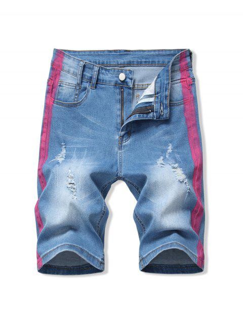 shop Contrast Paint Ripped Denim Shorts - HOT PINK 40 Mobile