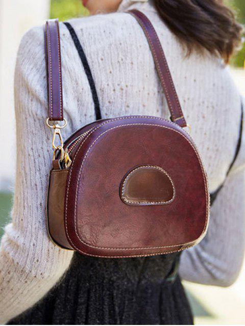 chic PU Leather Color Spliced Crossbody Bag - RED WINE  Mobile