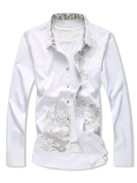 unique Dragon Print Button Up Long Sleeve Shirt - WHITE 2XL Mobile