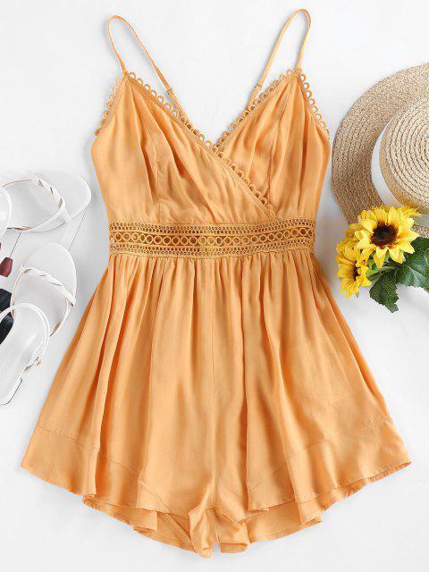 ZAFUL Gebundener Cami Chorhemd Strampler - Orange Gold S Mobile