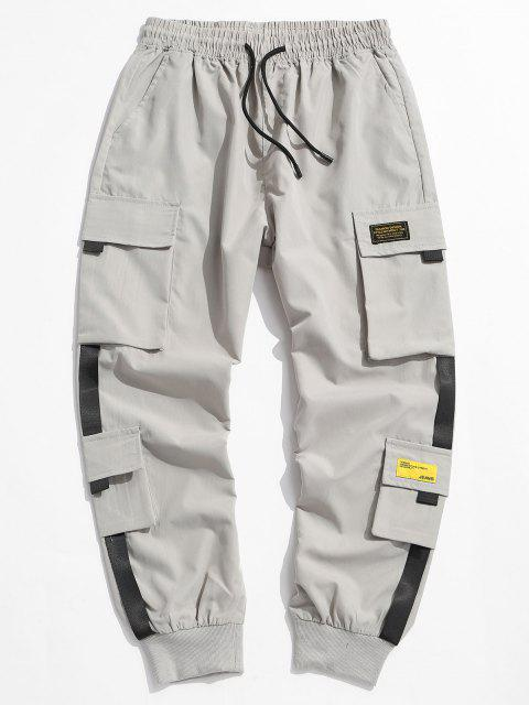 hot Letter Appliques Cargo Pants - LIGHT GRAY S Mobile
