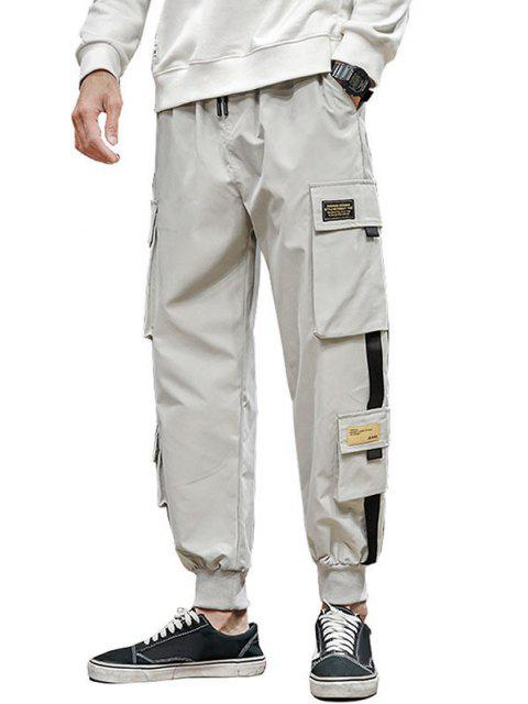 outfits Letter Appliques Cargo Pants - LIGHT GRAY L Mobile