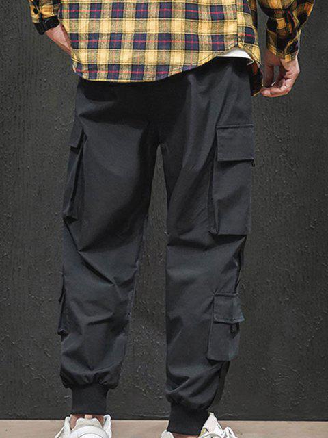 sale Letter Appliques Cargo Pants - BLACK M Mobile