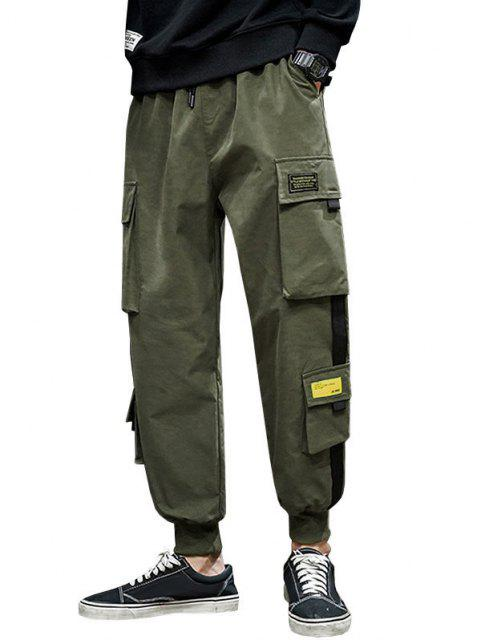 women's Letter Appliques Cargo Pants - ARMY GREEN M Mobile