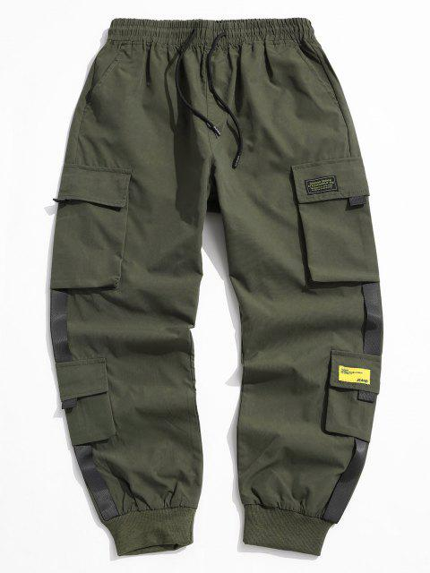 ladies Letter Appliques Cargo Pants - ARMY GREEN L Mobile