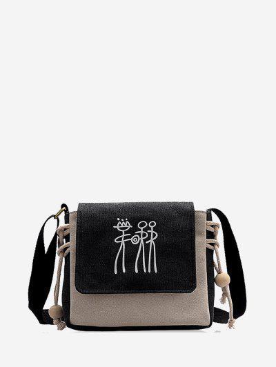 Abstract Print Canvas Crossbody Bag