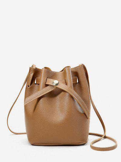 Solid PU Bucket Crossbody Bag - Caramel