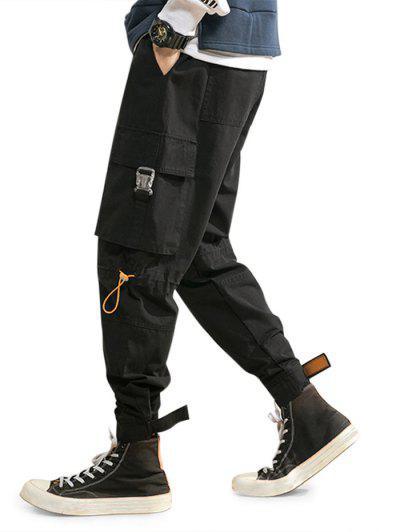 Release Buckle Multi Pockets Drawstring Cargo Pants - Black M
