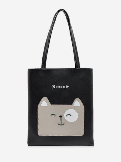 Cartoon Dog Print Tote Bag - Black 0.5kg