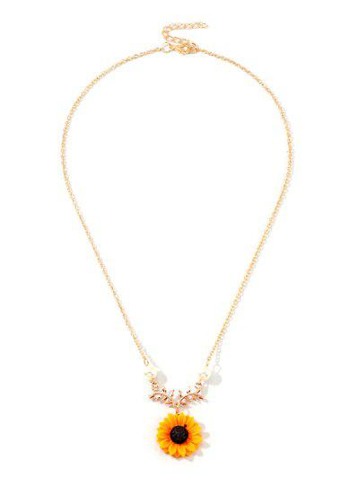 Sunflower Pendant Faux Pearl Necklace - Gold