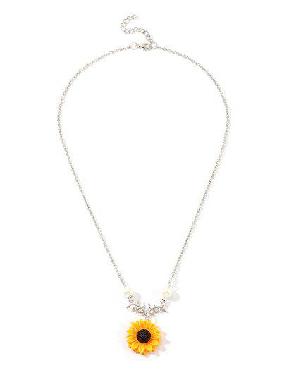 Sunflower Pendant Faux Pearl Necklace - Silver
