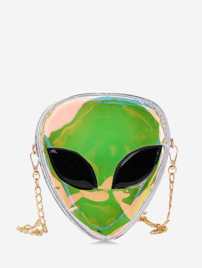 Alien Shape Hologram Crossbody Bag - Silver