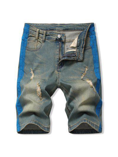 Contrast Paint Ripped Denim Shorts - Blue 34