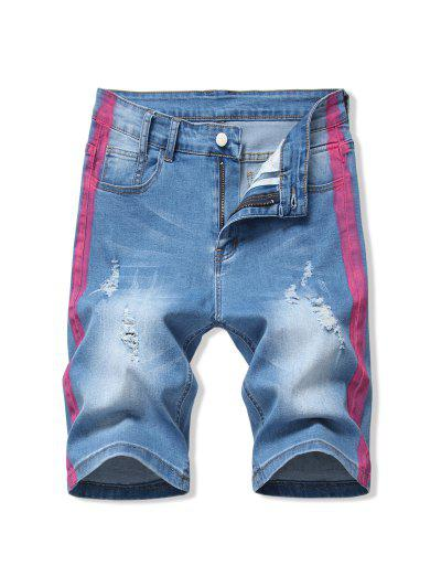 Contrast Paint Ripped Denim Shorts - Hot Pink 32