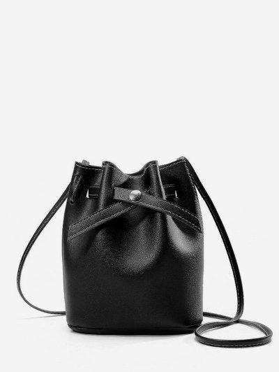 Solid PU Bucket Crossbody Bag - Black