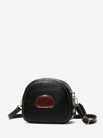 PU Leather Color Spliced Crossbody Bag - Black