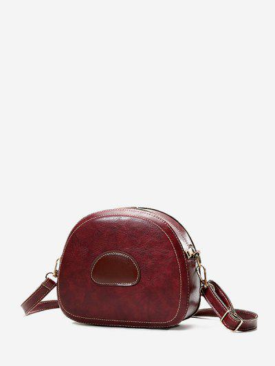PU Leather Color Spliced Crossbody Bag - Red Wine