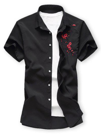 Camisa De Manga Corta De Bordado Floral - Negro 2xl