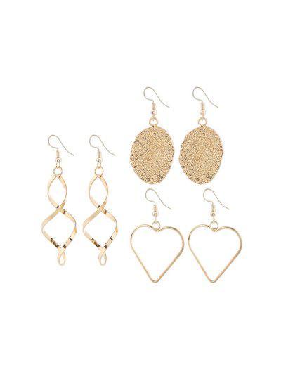 Leaf Heart Spiral Shape Alloy Earrings Set - Gold
