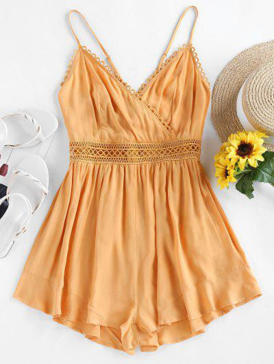 ZAFUL Back Tie Cami Surplice Romper - Orange Gold S