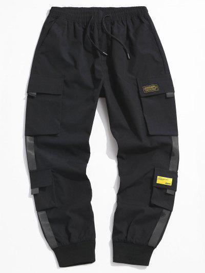 Letter Appliques Cargo Pants - Black S