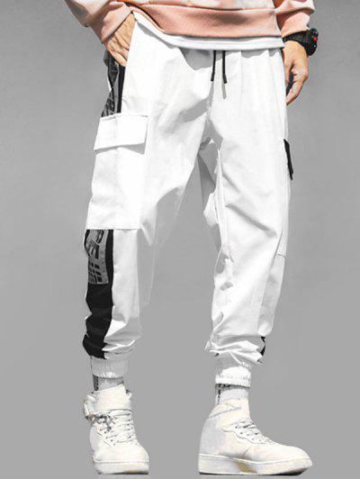 Letter Print Contrast Cargo Jogger Pants - White L
