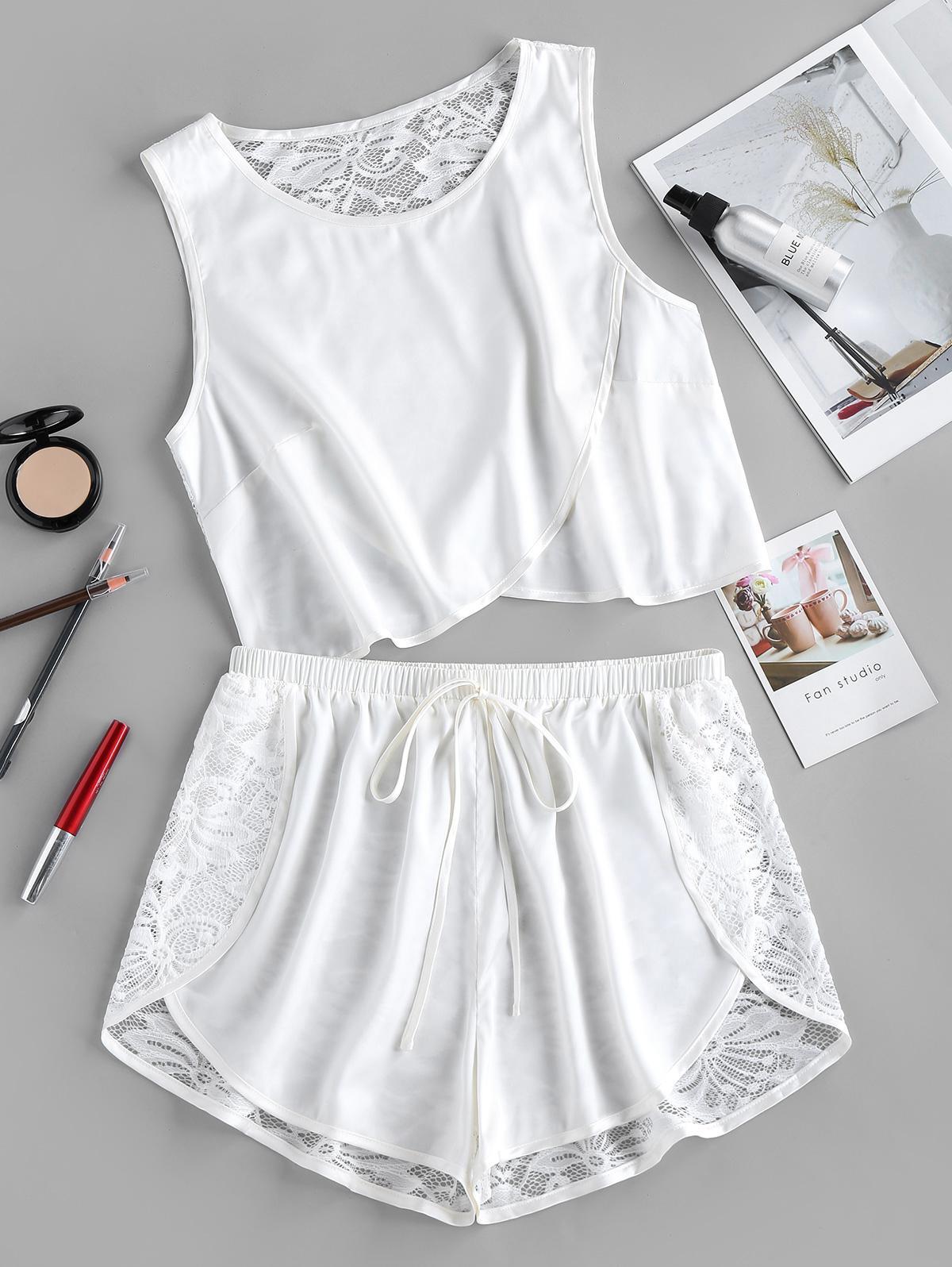 ZAFUL Lace Insert Shorts Pajama Set