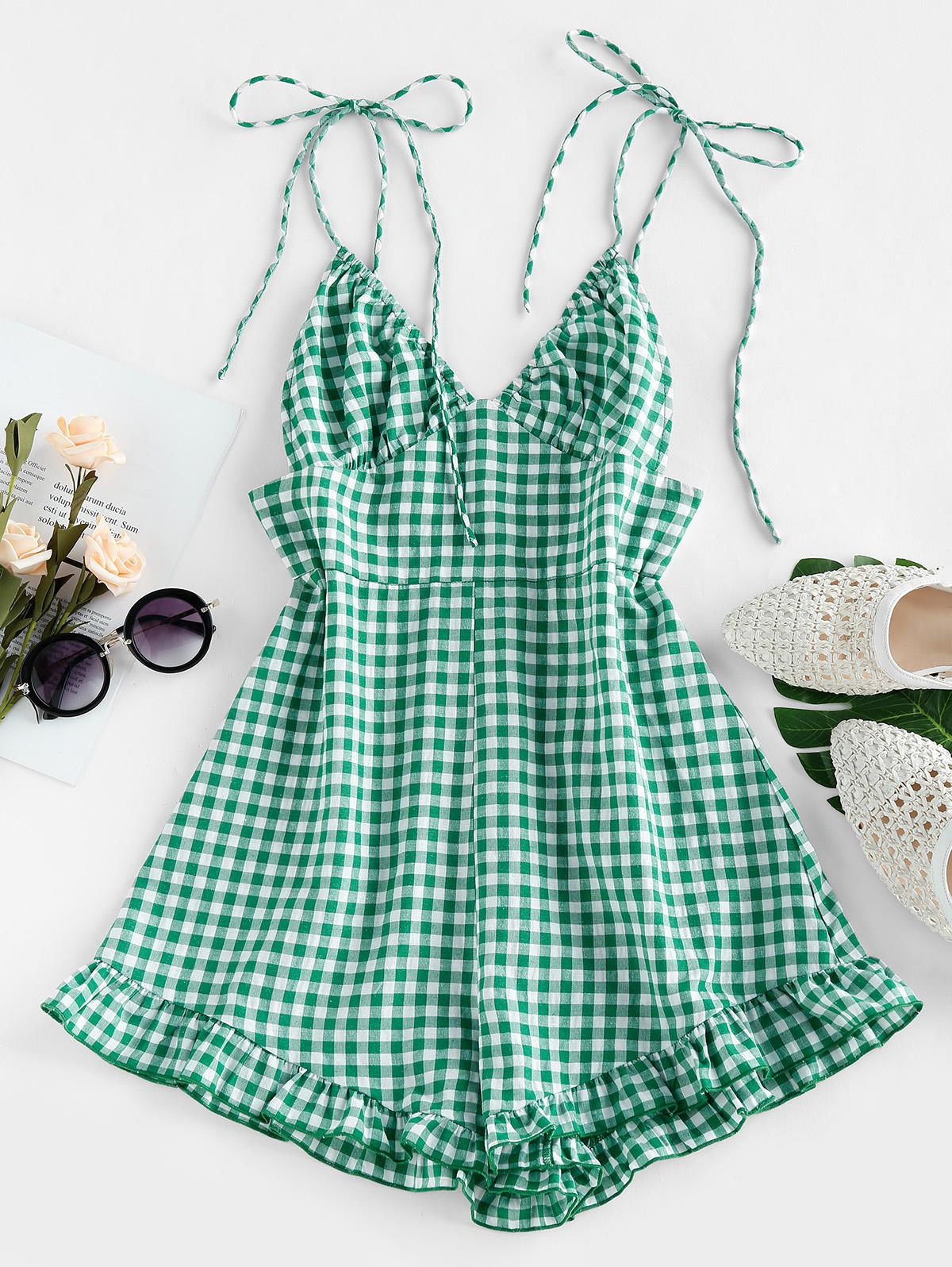 ZAFUL Checked Tie Shoulder Flounce Romper