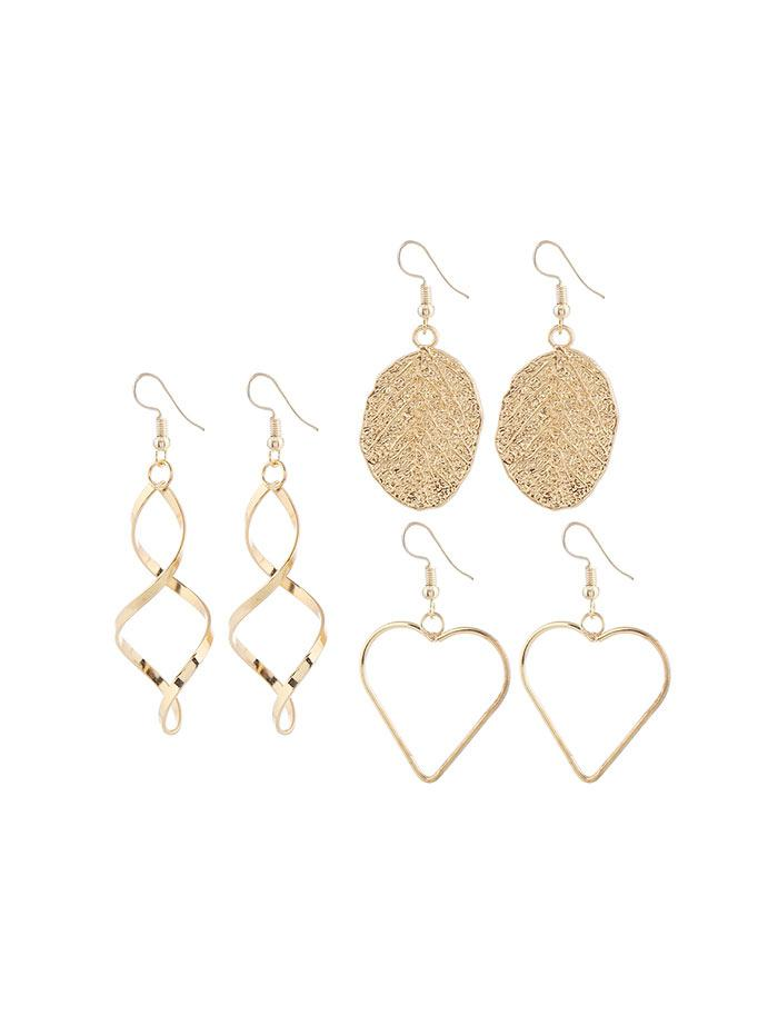 Leaf Heart Spiral Shape Alloy Earrings Set