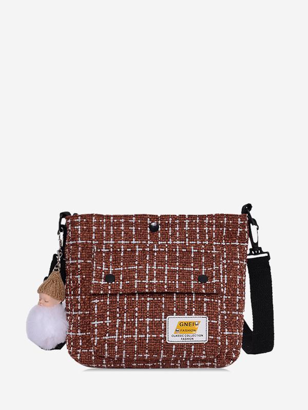 Plaid Pompom Pendant Crossbody Bag