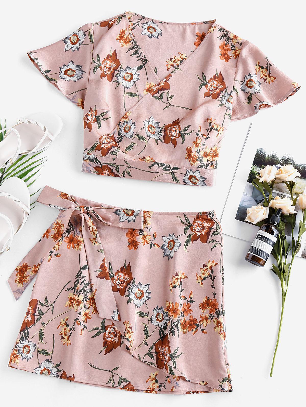 ZAFUL Flutter Sleeve Floral Wrap Two Piece Dress