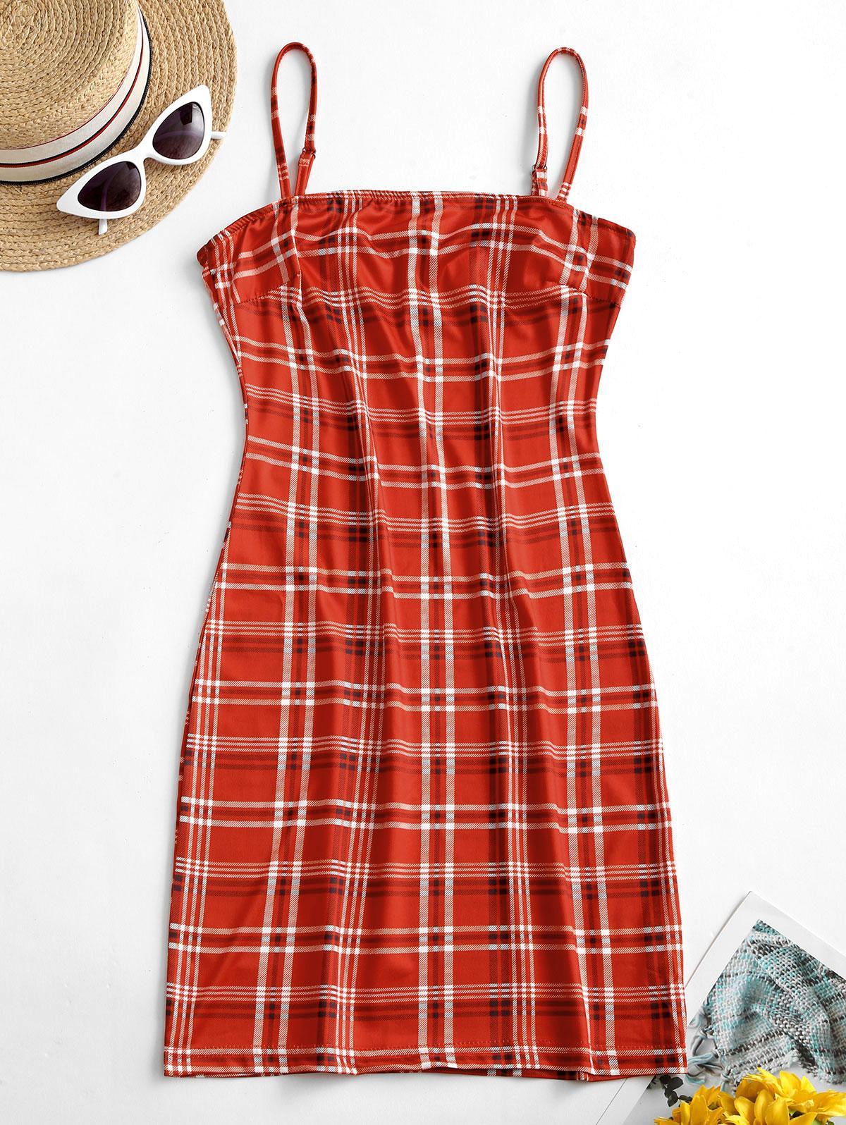Cami Plaid Bodycon Dress