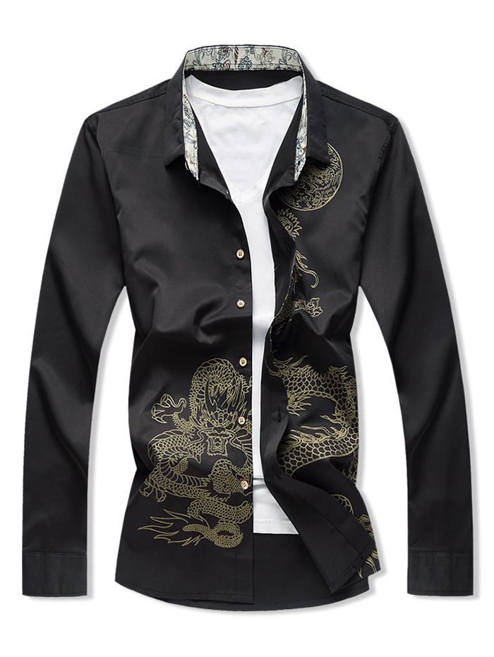 Dragon Print Button Up Long Sleeve Shirt thumbnail