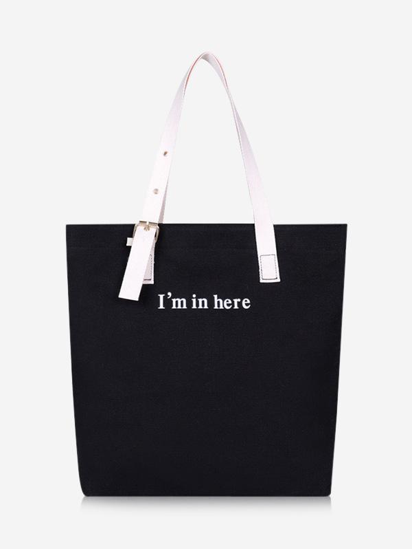 Graphic Print Letters Canvas Shoulder Bag