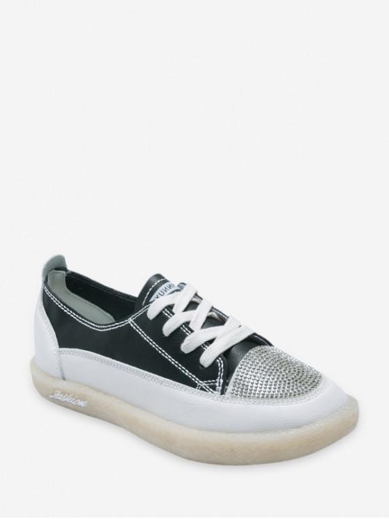 Zapatos Casuales Punta Redonda Imitación Diamantes - Negro EU 39