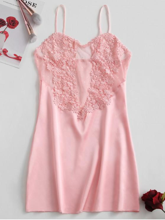 new Dotted Lace Panel Satin Sleep Dress - PINK S