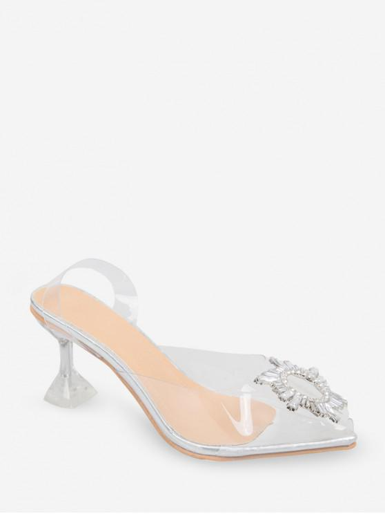 Sandalias de Tacón Fino y Embellecido con Estrás - Transparente EU 38